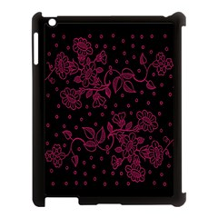 Pink Floral Pattern Background Wallpaper Apple Ipad 3/4 Case (black) by BangZart
