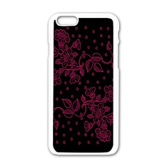 Pink Floral Pattern Background Wallpaper Apple Iphone 6/6s White Enamel Case by BangZart