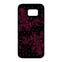 Pink Floral Pattern Background Wallpaper Samsung Galaxy S7 Edge Black Seamless Case