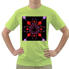 Fractal Red Violet Symmetric Spheres On Black Green T Shirt