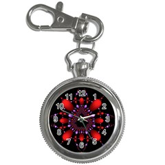 Fractal Red Violet Symmetric Spheres On Black Key Chain Watches