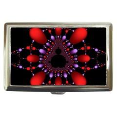 Fractal Red Violet Symmetric Spheres On Black Cigarette Money Cases