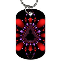 Fractal Red Violet Symmetric Spheres On Black Dog Tag (two Sides) by BangZart