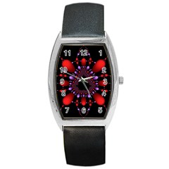 Fractal Red Violet Symmetric Spheres On Black Barrel Style Metal Watch by BangZart
