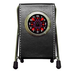 Fractal Red Violet Symmetric Spheres On Black Pen Holder Desk Clocks