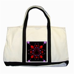 Fractal Red Violet Symmetric Spheres On Black Two Tone Tote Bag