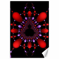Fractal Red Violet Symmetric Spheres On Black Canvas 12  X 18   by BangZart