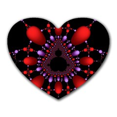 Fractal Red Violet Symmetric Spheres On Black Heart Mousepads by BangZart