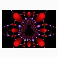 Fractal Red Violet Symmetric Spheres On Black Large Glasses Cloth