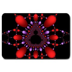 Fractal Red Violet Symmetric Spheres On Black Large Doormat