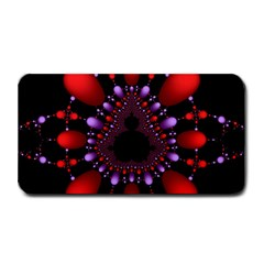 Fractal Red Violet Symmetric Spheres On Black Medium Bar Mats