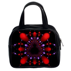 Fractal Red Violet Symmetric Spheres On Black Classic Handbags (2 Sides) by BangZart