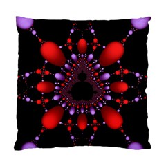 Fractal Red Violet Symmetric Spheres On Black Standard Cushion Case (two Sides) by BangZart