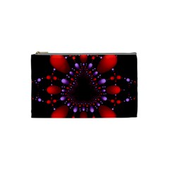 Fractal Red Violet Symmetric Spheres On Black Cosmetic Bag (small)  by BangZart