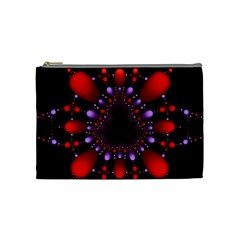 Fractal Red Violet Symmetric Spheres On Black Cosmetic Bag (medium)  by BangZart