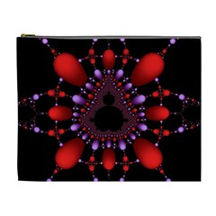 Fractal Red Violet Symmetric Spheres On Black Cosmetic Bag (xl) by BangZart