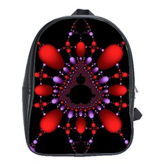 Fractal Red Violet Symmetric Spheres On Black School Bags(large)