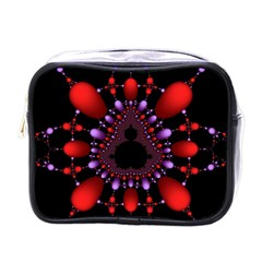 Fractal Red Violet Symmetric Spheres On Black Mini Toiletries Bags by BangZart