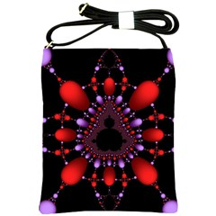 Fractal Red Violet Symmetric Spheres On Black Shoulder Sling Bags