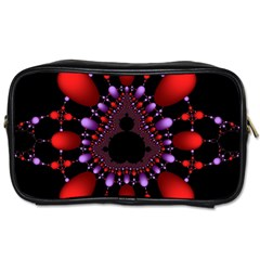 Fractal Red Violet Symmetric Spheres On Black Toiletries Bags 2 Side