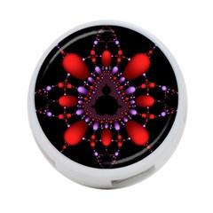 Fractal Red Violet Symmetric Spheres On Black 4 Port Usb Hub (two Sides)