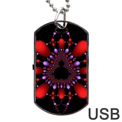 Fractal Red Violet Symmetric Spheres On Black Dog Tag Usb Flash (one Side) by BangZart