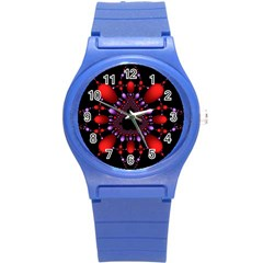 Fractal Red Violet Symmetric Spheres On Black Round Plastic Sport Watch (s) by BangZart