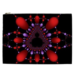 Fractal Red Violet Symmetric Spheres On Black Cosmetic Bag (xxl)