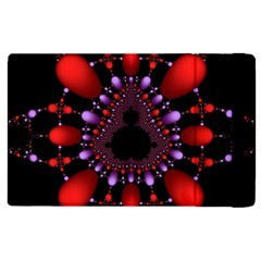 Fractal Red Violet Symmetric Spheres On Black Apple Ipad 3/4 Flip Case by BangZart