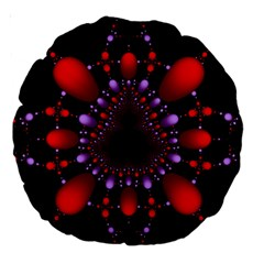 Fractal Red Violet Symmetric Spheres On Black Large 18  Premium Round Cushions