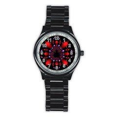 Fractal Red Violet Symmetric Spheres On Black Stainless Steel Round Watch by BangZart