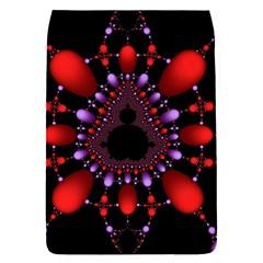 Fractal Red Violet Symmetric Spheres On Black Flap Covers (s)  by BangZart