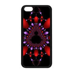 Fractal Red Violet Symmetric Spheres On Black Apple Iphone 5c Seamless Case (black) by BangZart