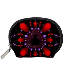 Fractal Red Violet Symmetric Spheres On Black Accessory Pouches (small)