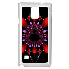 Fractal Red Violet Symmetric Spheres On Black Samsung Galaxy Note 4 Case (white) by BangZart