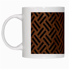 Woven2 Black Marble & Brown Wood (r) White Mug by trendistuff