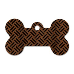 Woven2 Black Marble & Brown Wood (r) Dog Tag Bone (two Sides) by trendistuff