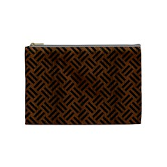 Woven2 Black Marble & Brown Wood (r) Cosmetic Bag (medium) by trendistuff