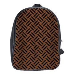 Woven2 Black Marble & Brown Wood (r) School Bag (large) by trendistuff