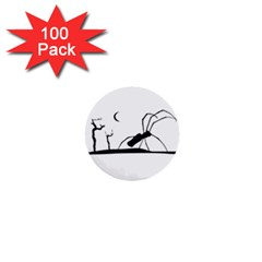 Dark Scene Silhouette Style Graphic Illustration 1  Mini Buttons (100 Pack)  by dflcprints
