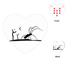 Dark Scene Silhouette Style Graphic Illustration Playing Cards (heart)  by dflcprints