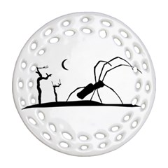 Dark Scene Silhouette Style Graphic Illustration Ornament (round Filigree) by dflcprints