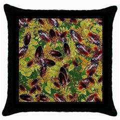 Cockroaches Throw Pillow Case (black) by SuperPatterns