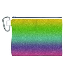 Metallic Rainbow Glitter Texture Canvas Cosmetic Bag (l) by paulaoliveiradesign