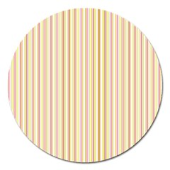 Stripes Pink And Green  Line Pattern Magnet 5  (round) by paulaoliveiradesign