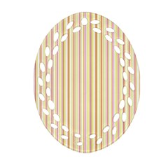 Stripes Pink And Green  Line Pattern Oval Filigree Ornament (two Sides) by paulaoliveiradesign
