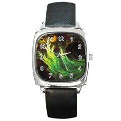 A Seaweed s Deepdream Of Faded Fractal Fall Colors Square Metal Watch by beautifulfractals