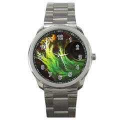 A Seaweed s Deepdream Of Faded Fractal Fall Colors Sport Metal Watch by beautifulfractals