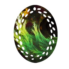 A Seaweed s Deepdream Of Faded Fractal Fall Colors Ornament (oval Filigree) by jayaprime