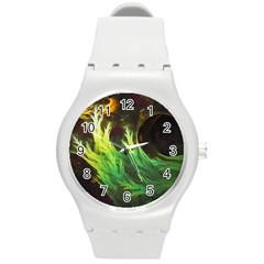 A Seaweed s Deepdream Of Faded Fractal Fall Colors Round Plastic Sport Watch (m) by jayaprime